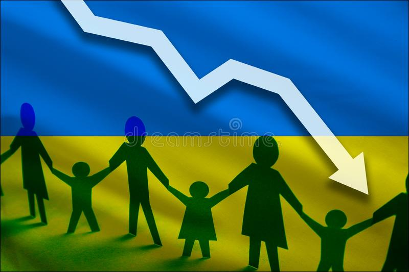 Ukraine flag background of the arrow chart down. Decrease in the number of the country`s rape. Fertility below the measurement. royalty free stock photo