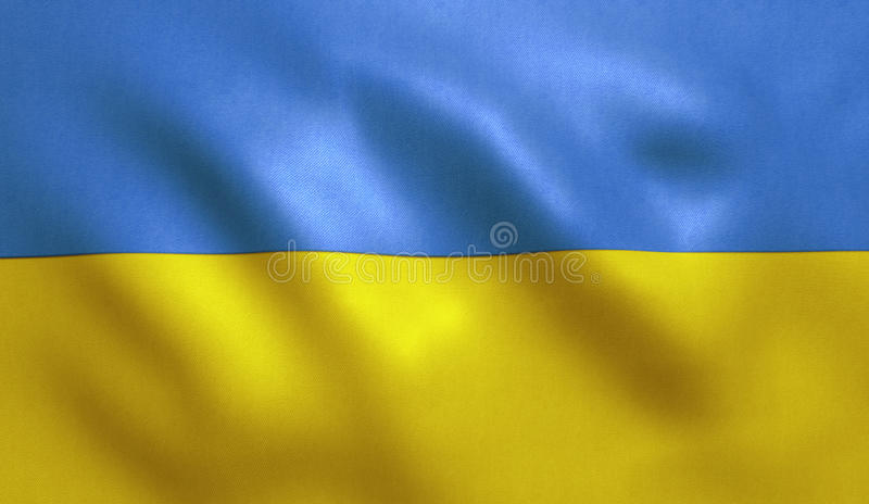 Ukraine Flag. Background with fabric texture royalty free stock photography