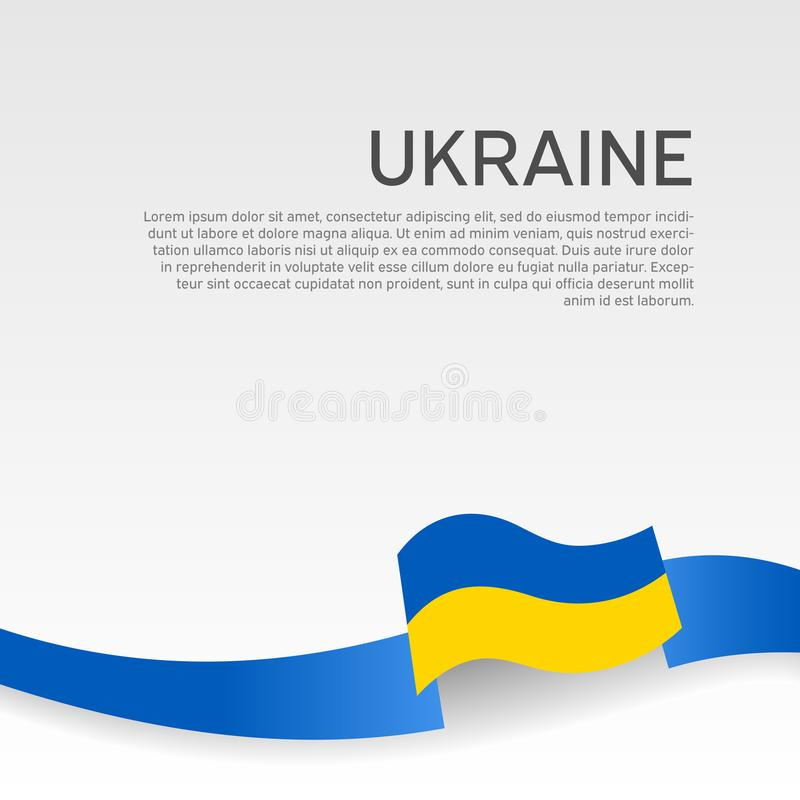 Ukraine flag background. Wavy ribbon colors of Ukraine flag on white background. National poster. Vector design cover, flyer stock illustration