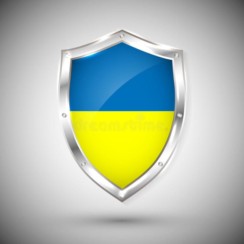 Ukraine flag on metal shiny shield vector illustration. Collection of flags on shield against white background. Abstract isolated royalty free illustration