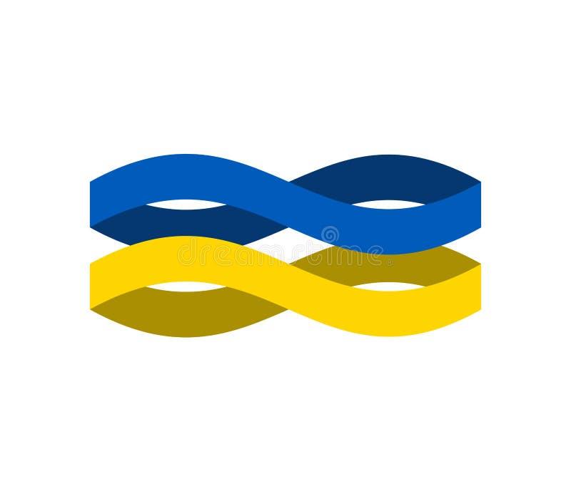 Ukraine Flag ribbon isolated. Ukrainian symbol national tape. St. Ate country sign. Vector illustration vector illustration