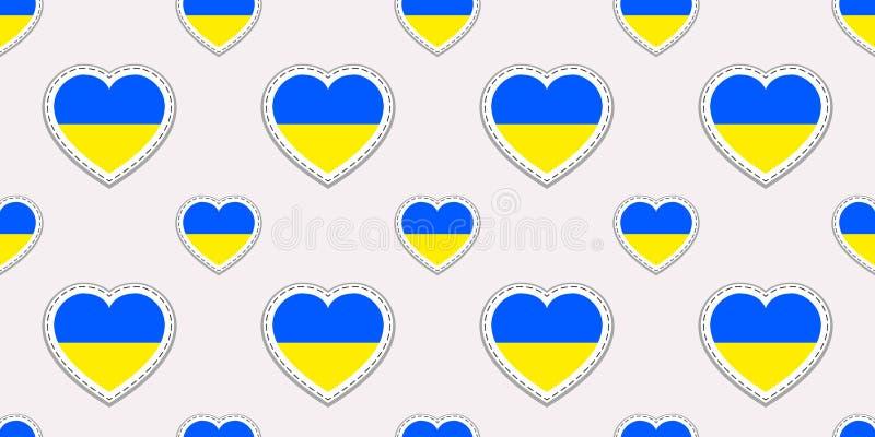 Ukraine flag seamless pattern. Vector Ukrainian flags stikers. Love hearts symbols. Texture for language courses, sports pages, tr vector illustration