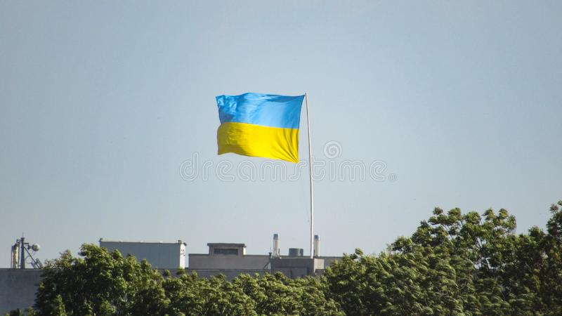 Ukraine flag on sky background. royalty free stock images