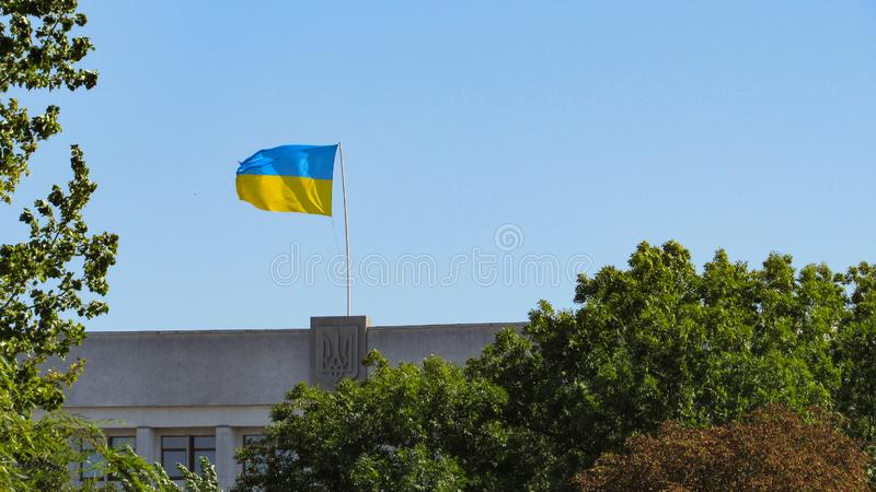 Ukraine flag on sky background. royalty free stock image