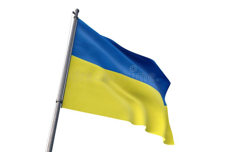 Ukraine flag waving isolated white background 3D illustration. Ukraine flag waving isolated white background on the wind vector illustration