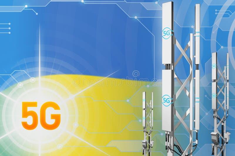 Ukraine 5G industrial illustration, big cellular network mast or tower on hi-tech background with the flag - 3D Illustration. Ukraine 5G network industrial vector illustration