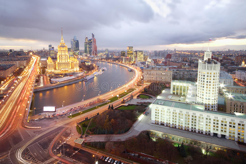 Ukraine Hotel, Moskva River and Russian government building. At evening in Moscow, Russia royalty free stock images