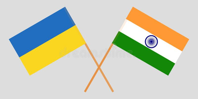 Ukraine and India. Ukrainian and Indian flags. Official colors. Correct proportion. Vector. Illustration vector illustration