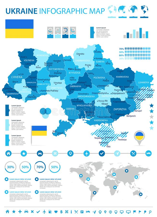 Ukraine - infographic map and flag - Detailed Vector Illustration royalty free illustration