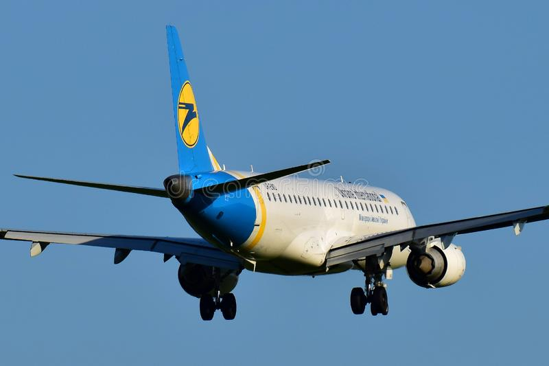 Ukraine International Airlines Embraer 190 royalty free stock photography
