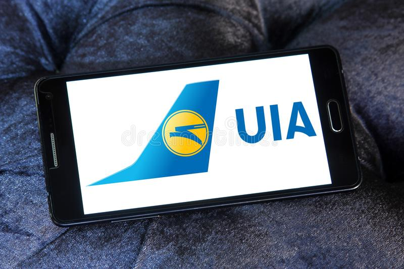 Ukraine International Airlines logo fotografia royalty free
