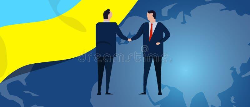 Ukraine international partnership. Diplomacy negotiation. Business relationship agreement handshake. Country flag and stock illustration