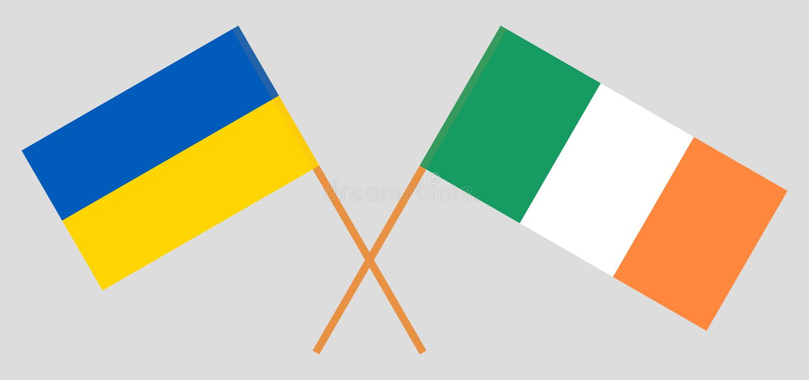 Ukraine and Ireland. The Ukrainian and Irish flags. Official colors. Correct proportion. Vector. Illustration stock illustration