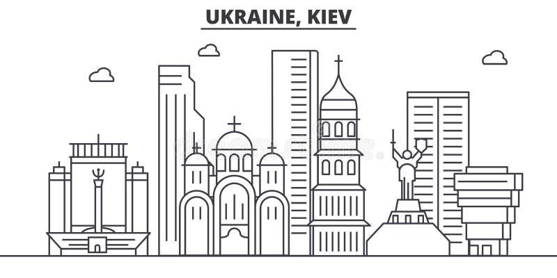 Ukraine, Kiev architecture line skyline illustration. Linear vector cityscape with famous landmarks, city sights, design. Icons. Editable strokes vector illustration