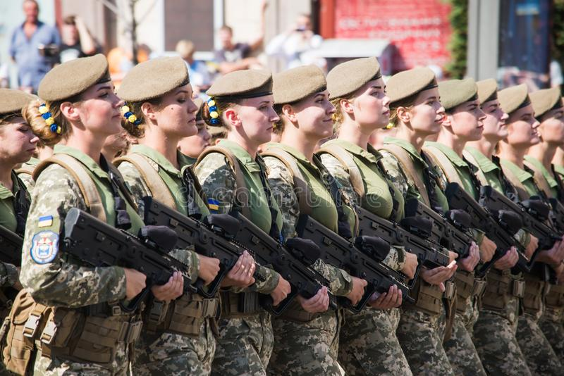 Ukraine, Kiev, August 24, 2018. Military parade dedicated to the Independence Day of Ukraine. Women are soldiers royalty free stock photos