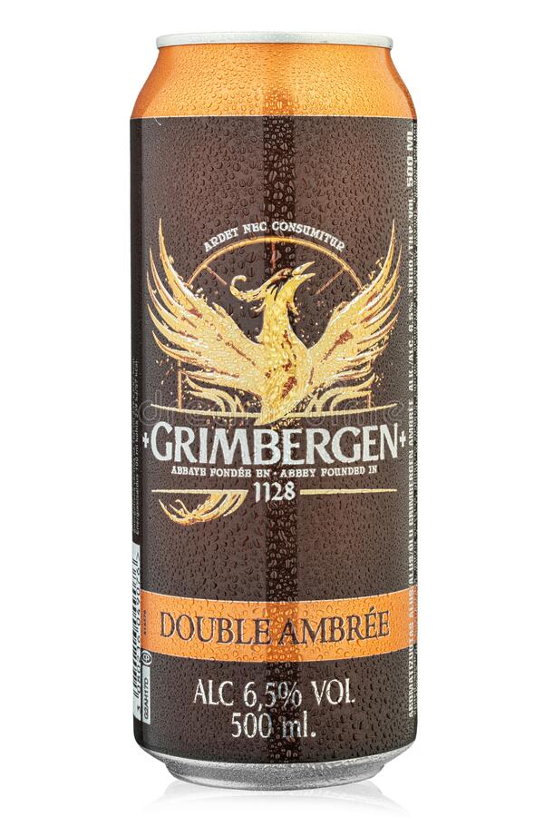 Aluminium can of  Grimbergen Double Ambree beer on white background. File contains clipping path. Ukraine, Kiev - December 26, 2019: Aluminium can of  Grimbergen stock images