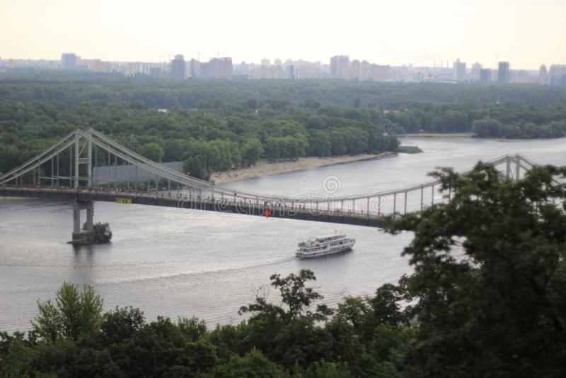 Ukraine Kiev Kyiv Dnepr Dnipro River 09 July 2016. Ukraine Kiev Kyiv Dnepr Dnipro River Lanscape, Bridge and Island Park View 09 July 2016 royalty free stock photography