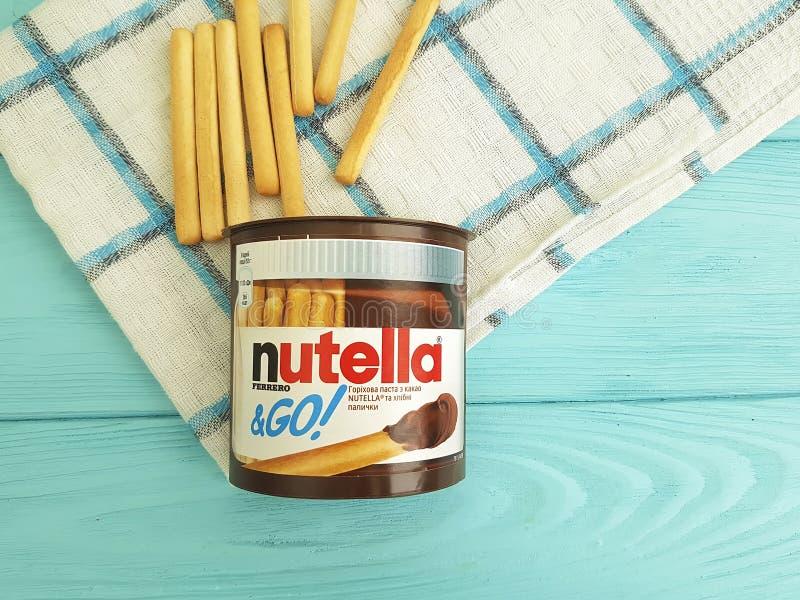 Ukraine Kiev10 March 2018 Nutella on the wooden breakfast stock photography