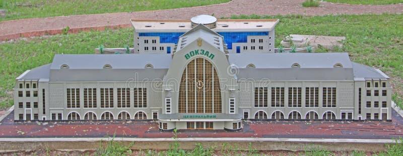 Ukraine. Kiev. Museum of Miniatures. Railway station stock photography