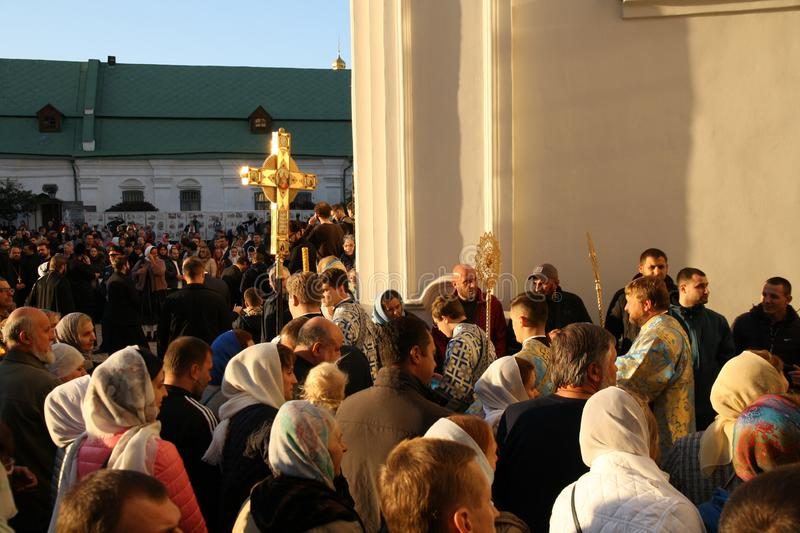 Celebration of the feast of the Protection of the Virgin in Kiev. royalty free stock images