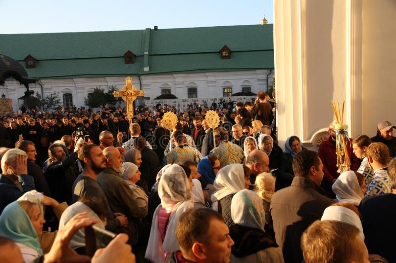 Celebration of the feast of the Protection of the Virgin in Kiev. royalty free stock photography