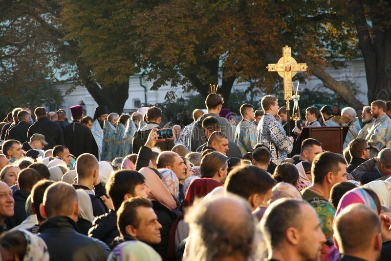 Celebration of the feast of the Protection of the Virgin in Kiev. stock images