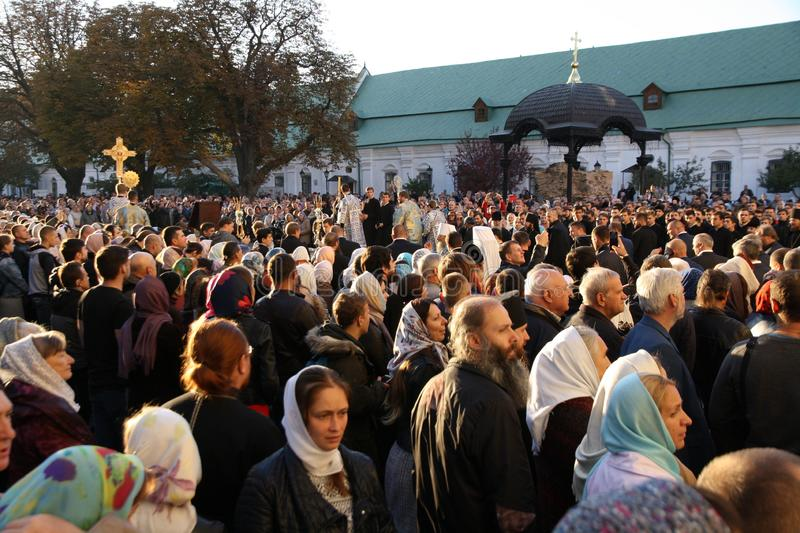 Celebration of the feast of the Protection of the Virgin in Kiev. royalty free stock photo
