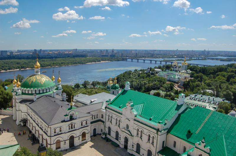 Ukraine. The Kiev Pechersk Lavra is a common name for an entire complex of cathedrals, bell towers, cloisters, fortification walls royalty free stock photo