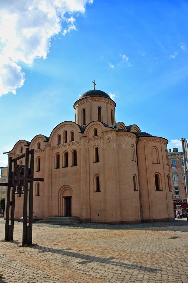 Ukraine. Kiev. Podol. Pirogoschi church. stock photos