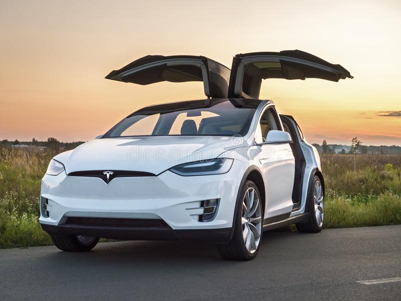 Tesla electric car royalty free stock photos