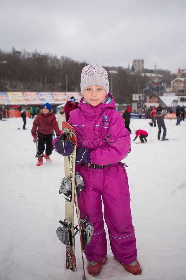Ukraine, Kiev ski resort Protasov Yar January 25, 2015. The ski slope in the city center. Ski school for children. The instructor royalty free stock images