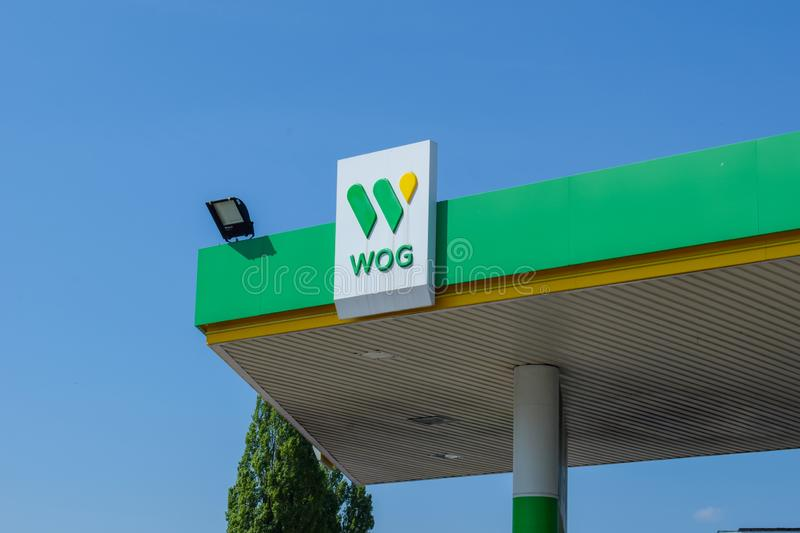 Ukraine, Kremenchug - May, 2019 Automotive fuel station WOG. royalty free stock photos