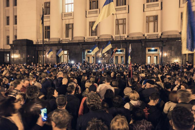 02.10.2019 Ukraine. Kyiv. A protest near the presidential administration of Ukraine. stock photo