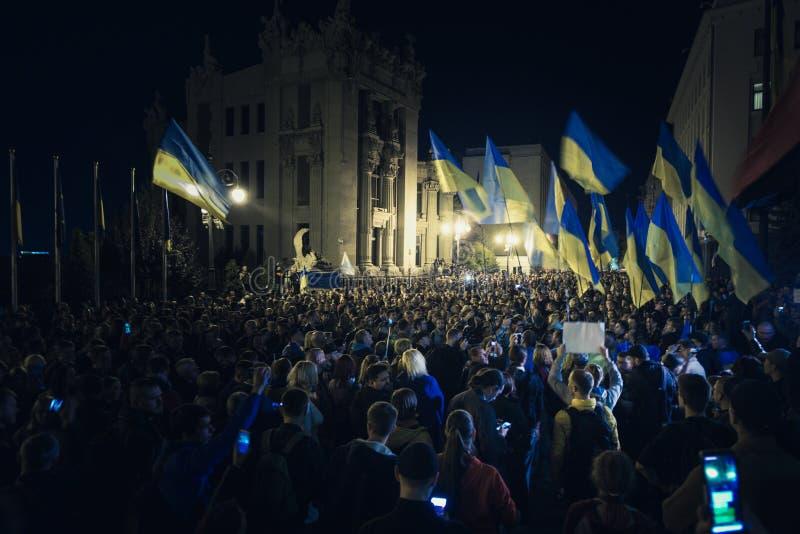 02.10.2019 Ukraine. Kyiv. A protest near the presidential administration of Ukraine. 20.10.2019 Ukraine. Kyiv. A protest near the presidential administration of royalty free stock photos