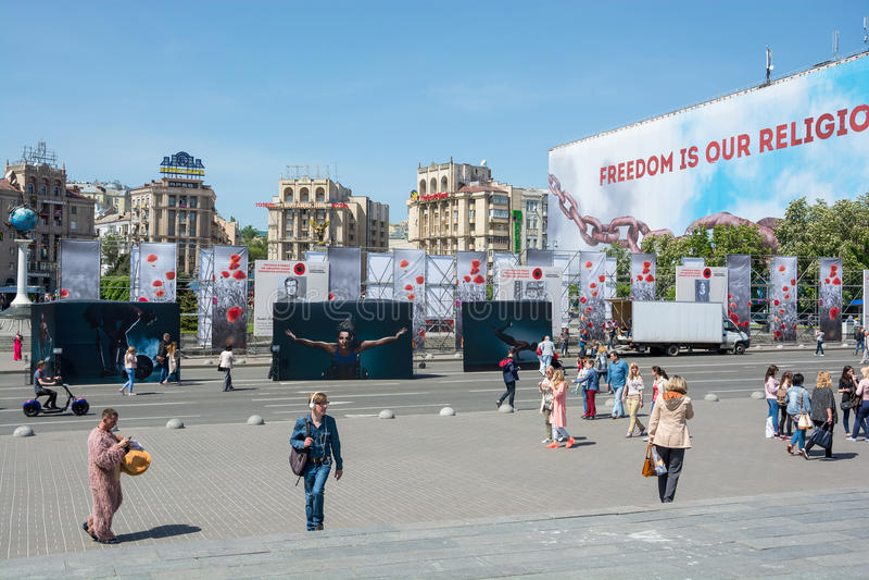 Ukraine, Kyiv 05 05 2017 redaktionell Leute nahe dem Standesprit stockbilder