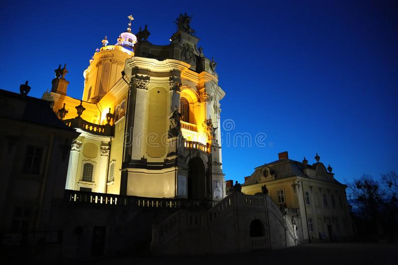 Saints Georges Cathedral in Lviv, Ukraine. UKRAINE, LVIV, APRIL 5, 2015: Saints Georges Cathedral in Lviv, Western Ukraine stock images