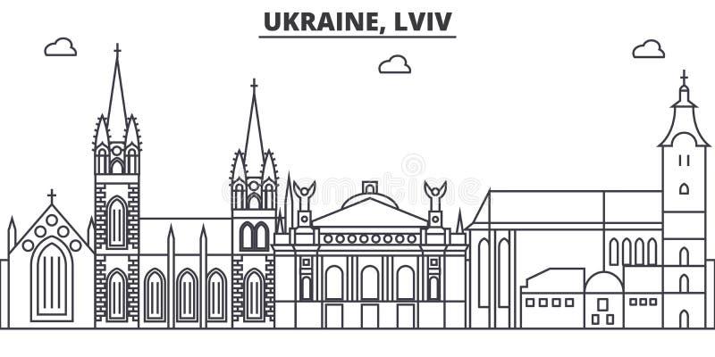 Ukraine, Lviv architecture line skyline illustration. Linear vector cityscape with famous landmarks, city sights, design. Icons. Editable strokes royalty free illustration