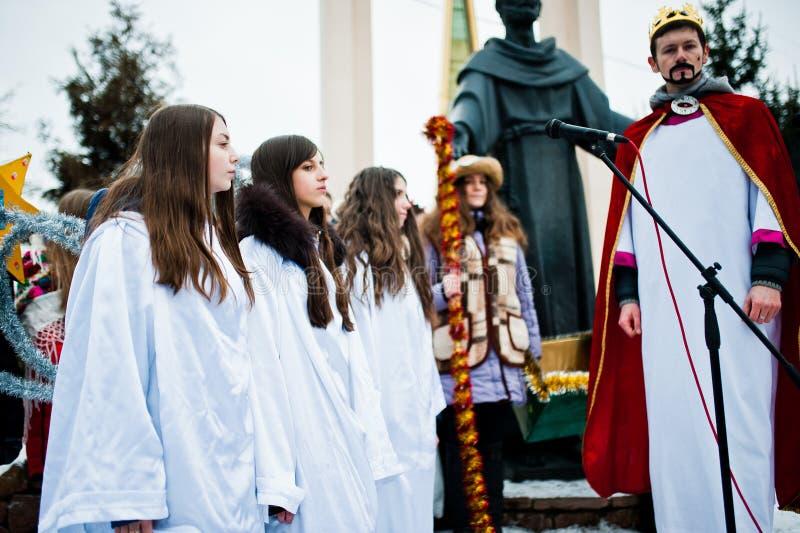 ukraine LVIV - JANUARI 14, 2016: Juljulkrubba arkivfoton