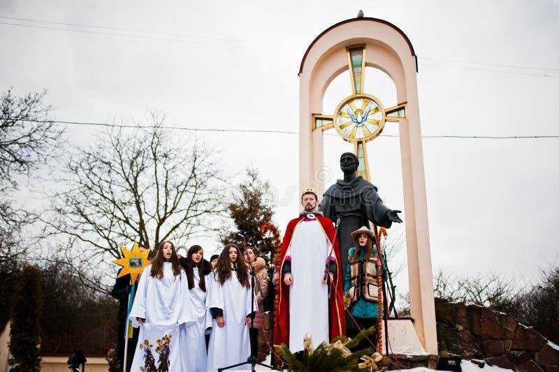 ukraine LVIV - JANUARI 14, 2016: Juljulkrubba royaltyfria foton