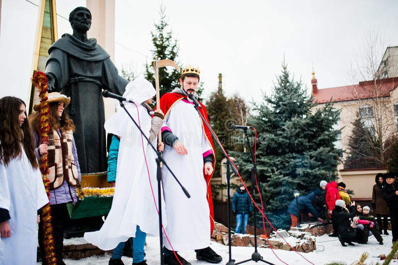 ukraine LVIV - JANUARI 14, 2016: Juljulkrubba arkivbilder