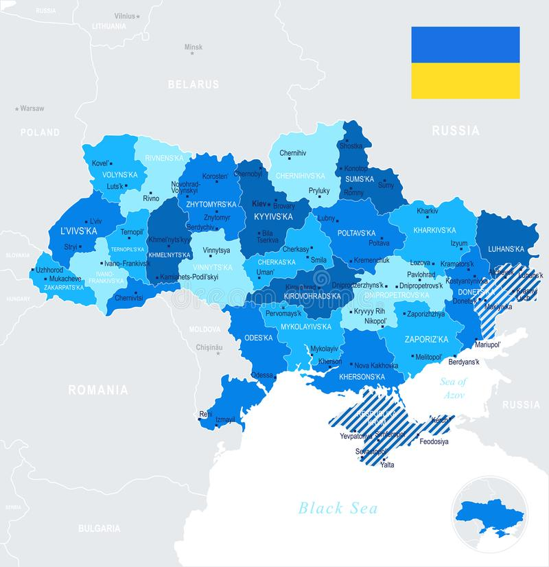 Ukraine - map and flag - Detailed Vector Illustration stock illustration