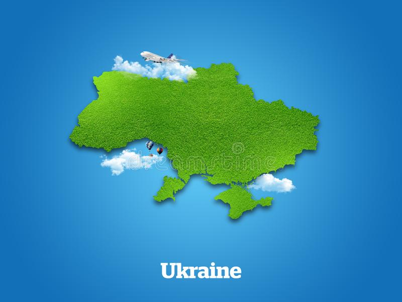 Ukraine Map. Green grass, sky and cloudy concept. vector illustration