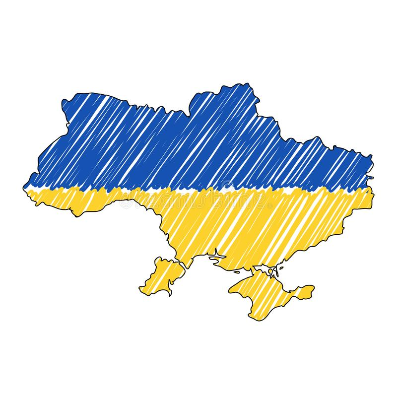 Ukraine map hand drawn sketch. Vector concept illustration flag, childrens drawing, scribble map. Country map for stock illustration