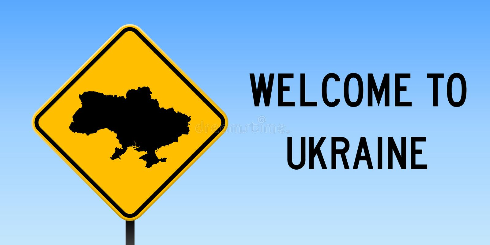 Ukraine map on road sign. Wide poster with Ukraine country map on yellow rhomb road sign. Vector illustration vector illustration