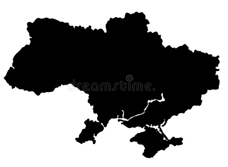 Ukraine map silhouette vector illustration. Isolated on white background royalty free illustration