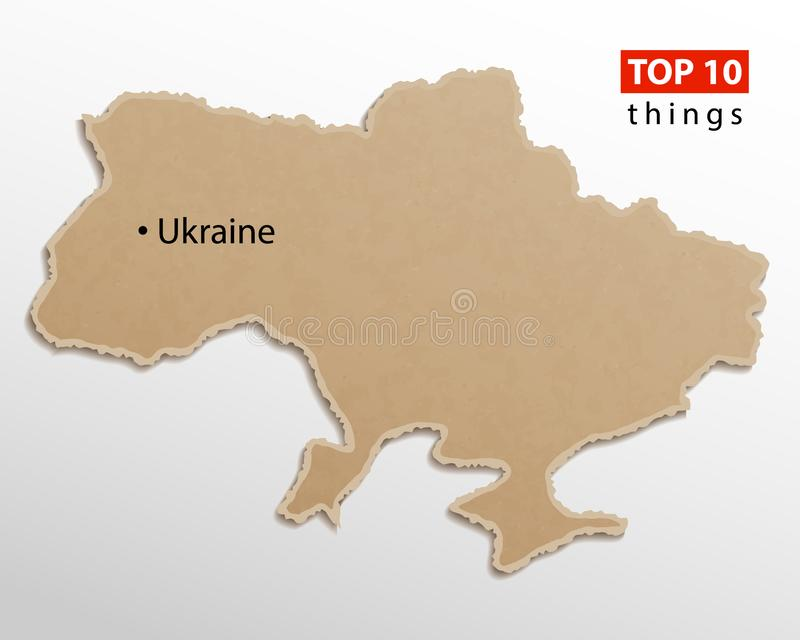 Ukraine map vector. Ukrainian maps craft paper texture. Empty template information creative design stock illustration