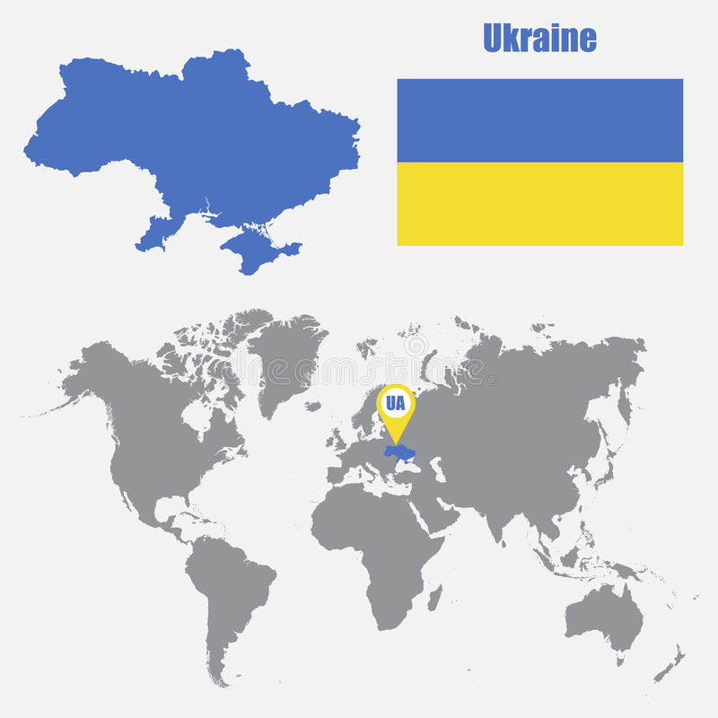 Ukraine map on a world map with flag and map pointer vector download ukraine map on a world map with flag and map pointer vector illustration stock gumiabroncs Gallery
