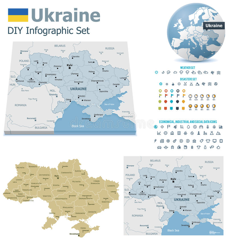 Download Ukraine maps with markers stock vector. Image of oblast - 33619118