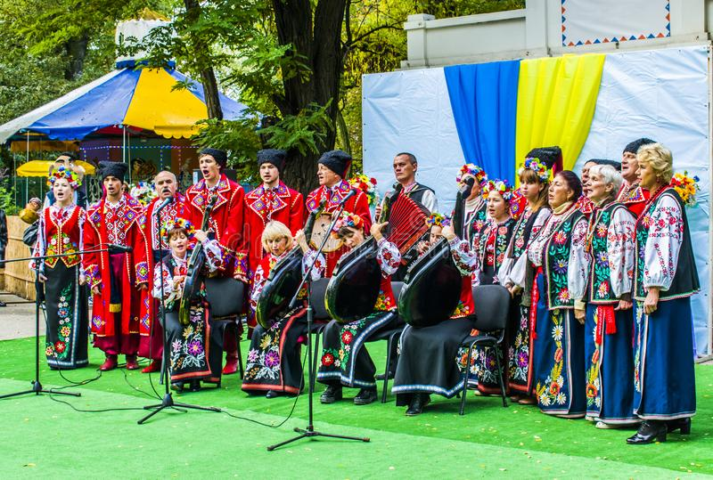 Melitopol on October 14, 2017. The Cossack Choir sings in Ukraine on Cossack Day. Ukraine, Melitopol on October 14, 2017. The Cossack Choir sings in Ukraine on stock image