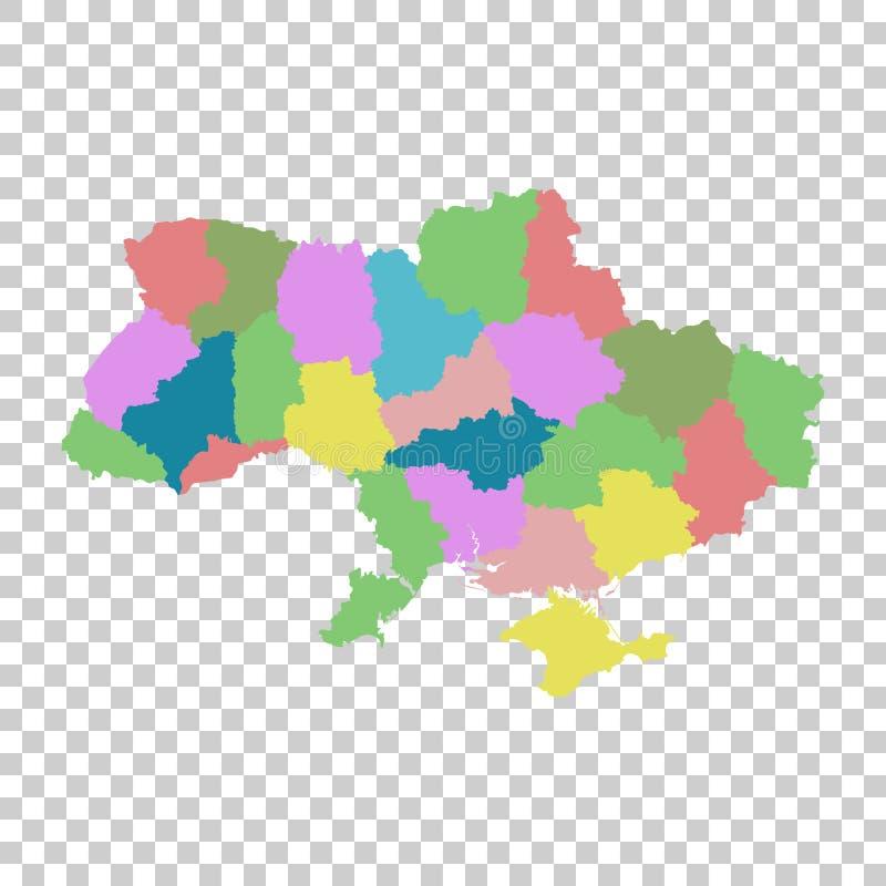 Ukraine mit Regionen auf lokalisiertem Hintergrund Flacher Vektor stock abbildung